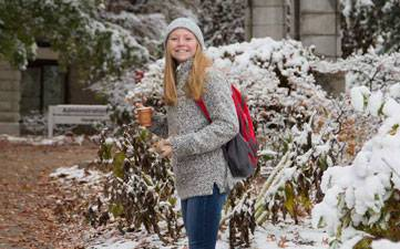 Thumbnail image: UCM student standing outside with snow.